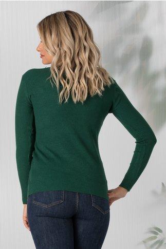 Bluza Simona verde cu decolteu in V