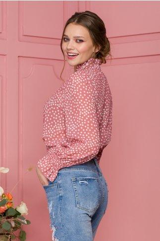 Bluza Sindy din voal roz cu buline albe