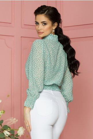 Bluza Sindy din voal verde cu buline albe