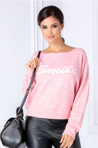 Bluza Smile roz cu croi lejer