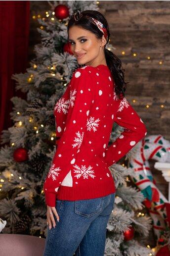 Bluza Snow rosie cu imprimeu de iarna