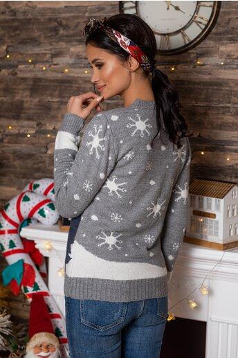 Bluza Snowman gri cu imprimeu de iarna