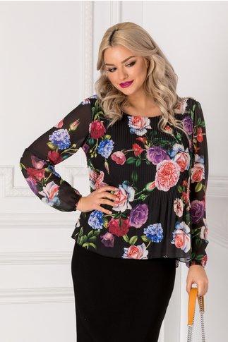 Bluza Sofi neagra din voal plisat cu imprimeu floral