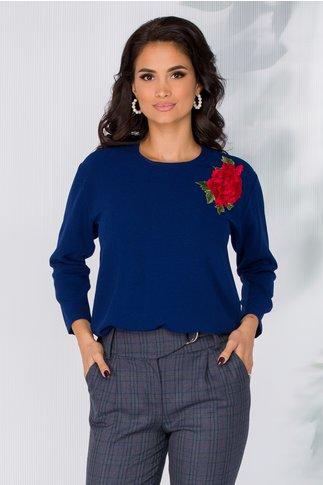 Bluza Sonia bleumarin cu trandafir brodat
