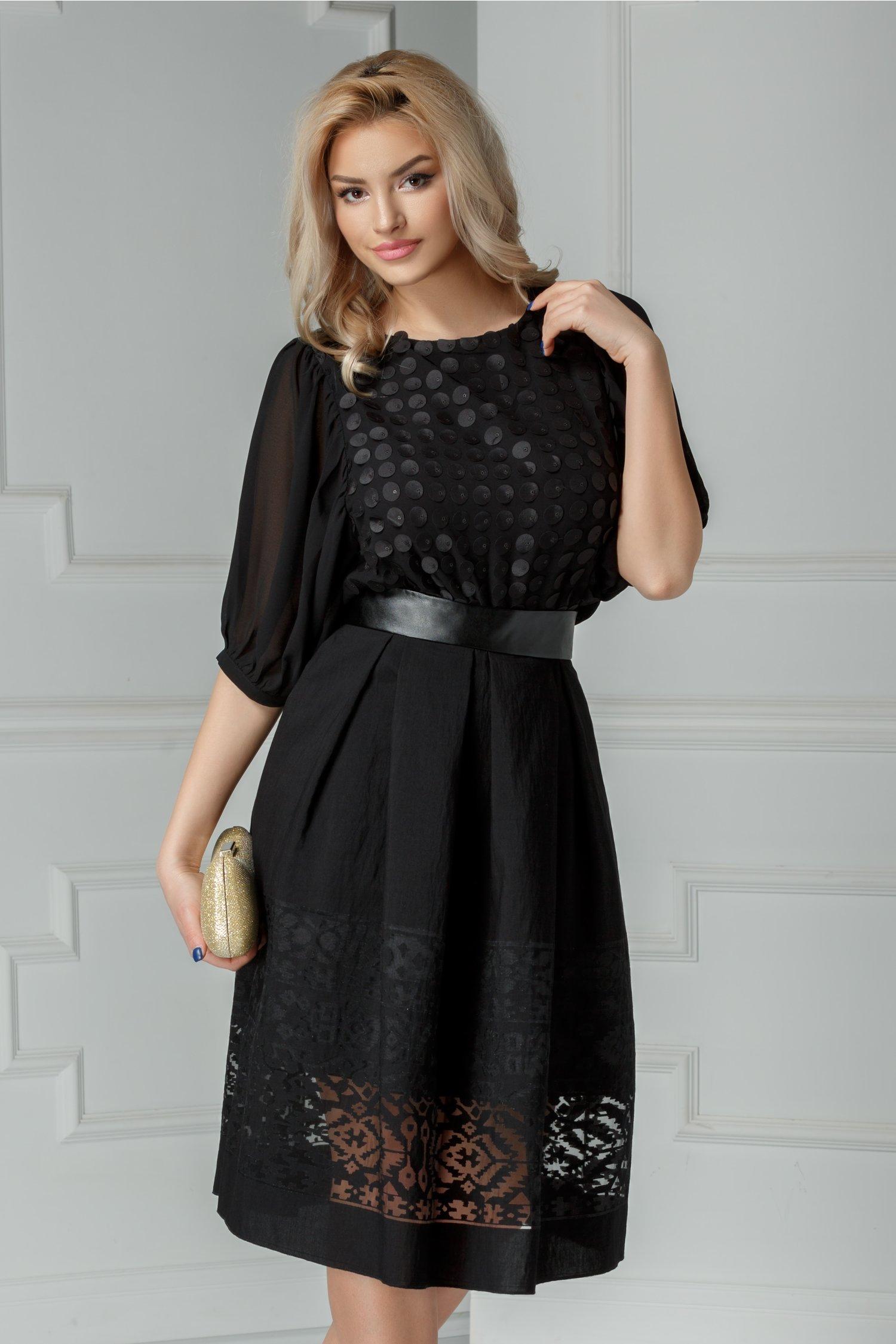 Bluza Stacy neagra eleganta cu maneci voal