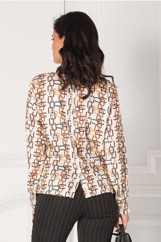 Bluza Suzy bej cu imprimeuri geometrice colorate