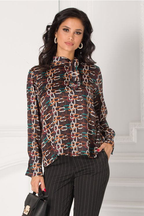 Bluza Suzy neagra cu imprimeuri geometrice colorate