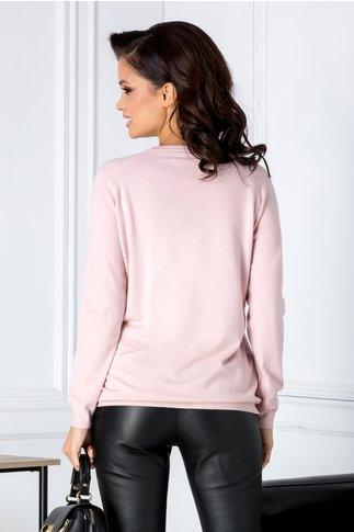 Bluza Swan roz cu lebede din paiete si perlute