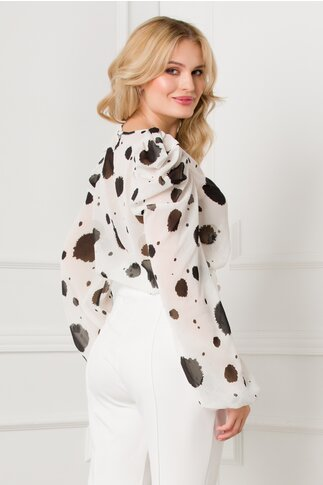Bluza Tammy alba cu imprimeu si detalii argintii