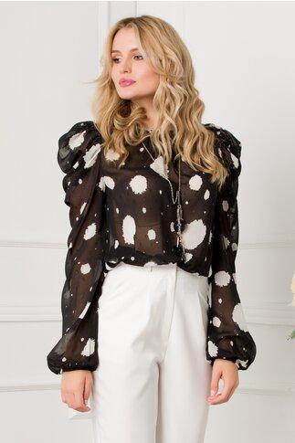 Bluza Tammy neagra cu imprimeu si detalii argintii