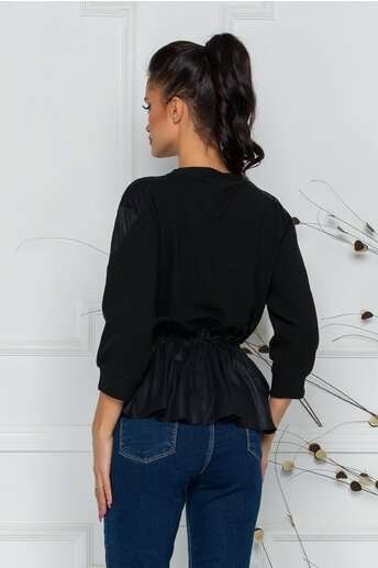 Bluza Tamy neagra cu detalii din piele ecologica si peplum