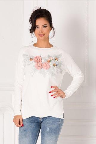 Bluza Tania alb cu broderie si flori 3D