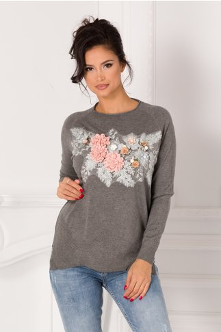 Bluza Tania gri cu broderie si flori 3D