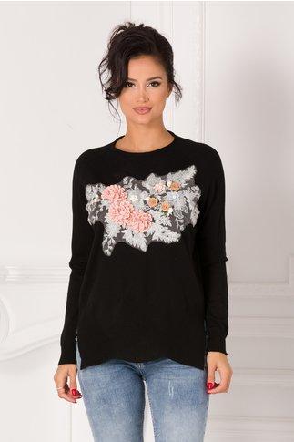 Bluza Tania neagra cu broderie si flori 3D