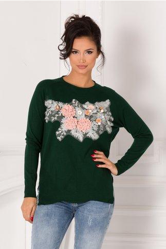 Bluza Tania verde cu broderie si flori 3D