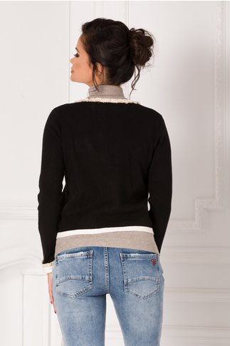 Bluza tip sacou casual negru tricotat cu franjuri si buzunare false