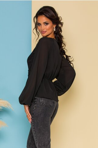 Bluza Tisa neagra cu dantela la bust si peplum in talie