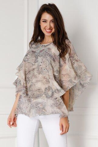Bluza Tori bej vaporoasa de vara cu imprimeuri gir