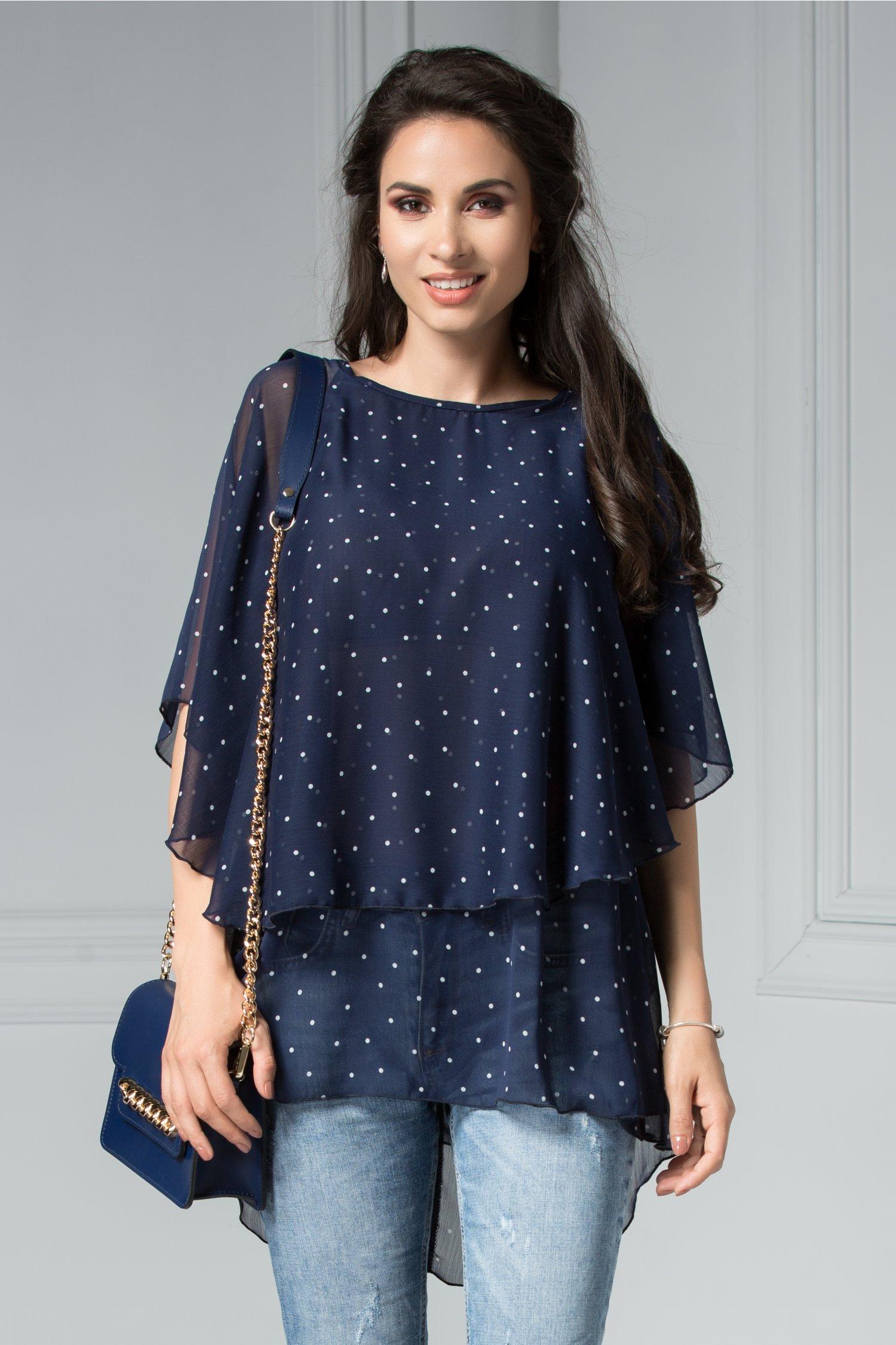 Bluza Tori Bleumarin cu Buline Vaporoasa de Vara