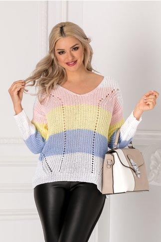 Bluza tricotata alba cu dungi colorate