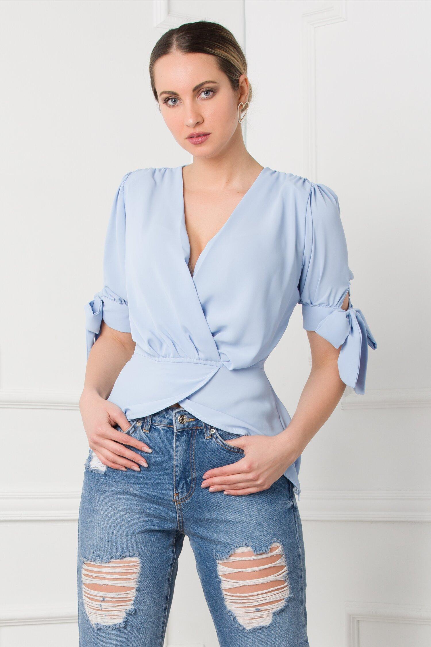 Bluza Vania bleu petrecuta cu maneci scurte