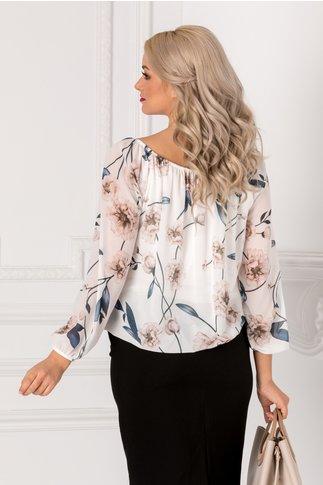 Bluza vaporoasa alba cu imprimeu floral