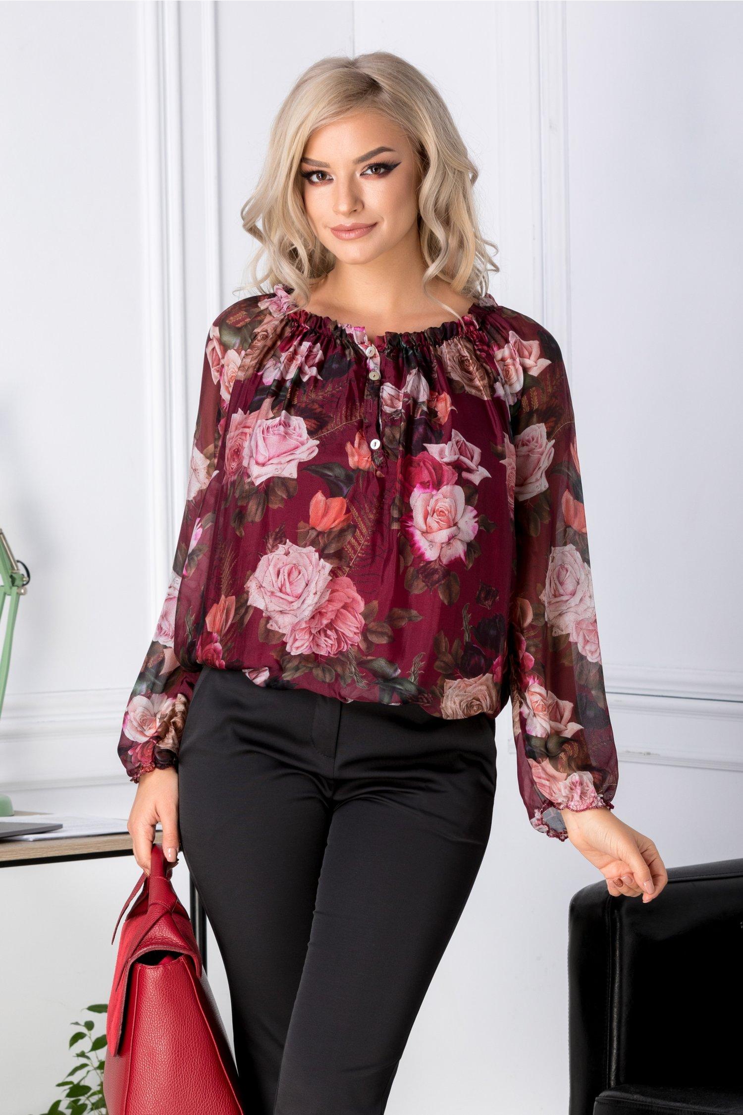 Bluza vaporoasa bordo cu imprimeu floral
