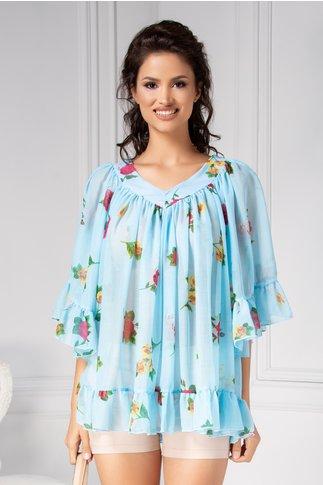 Bluza vaporoasa de vara bleu cu flori