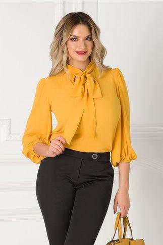 Bluza vaporoasa LaDonna galben mustar cu guler tip esarfa