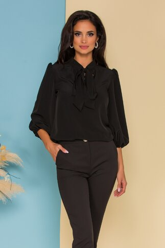Bluza vaporoasa LaDonna neagra cu guler tip esarfa