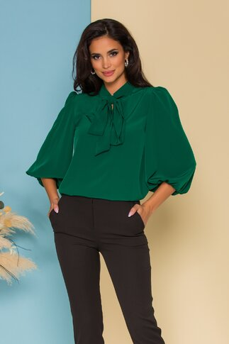 Bluza vaporoasa LaDonna verde cu guler tip esarfa