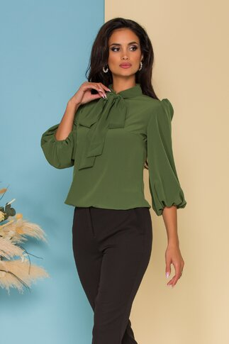Bluza vaporoasa LaDonna verde olive cu guler tip esarfa