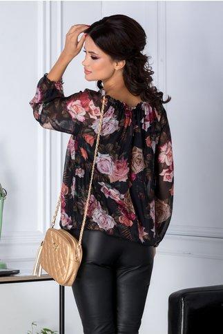 Bluza vaporoasa neagra cu imprimeu floral