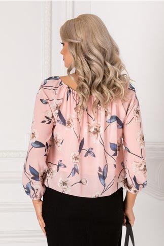 Bluza vaporoasa roz cu imprimeu floral