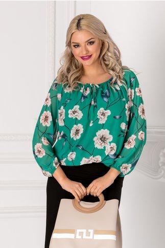 Bluza vaporoasa verde cu imprimeu floral