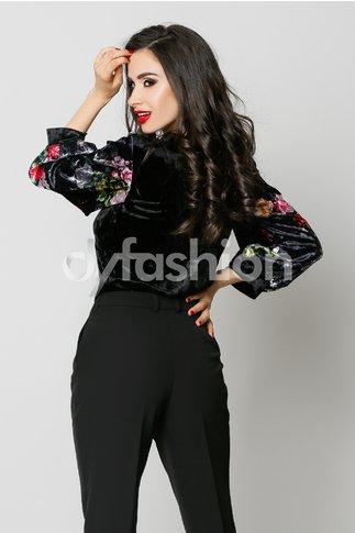 Bluza Velvet Neagra Din Catifea Cu Imprimeu