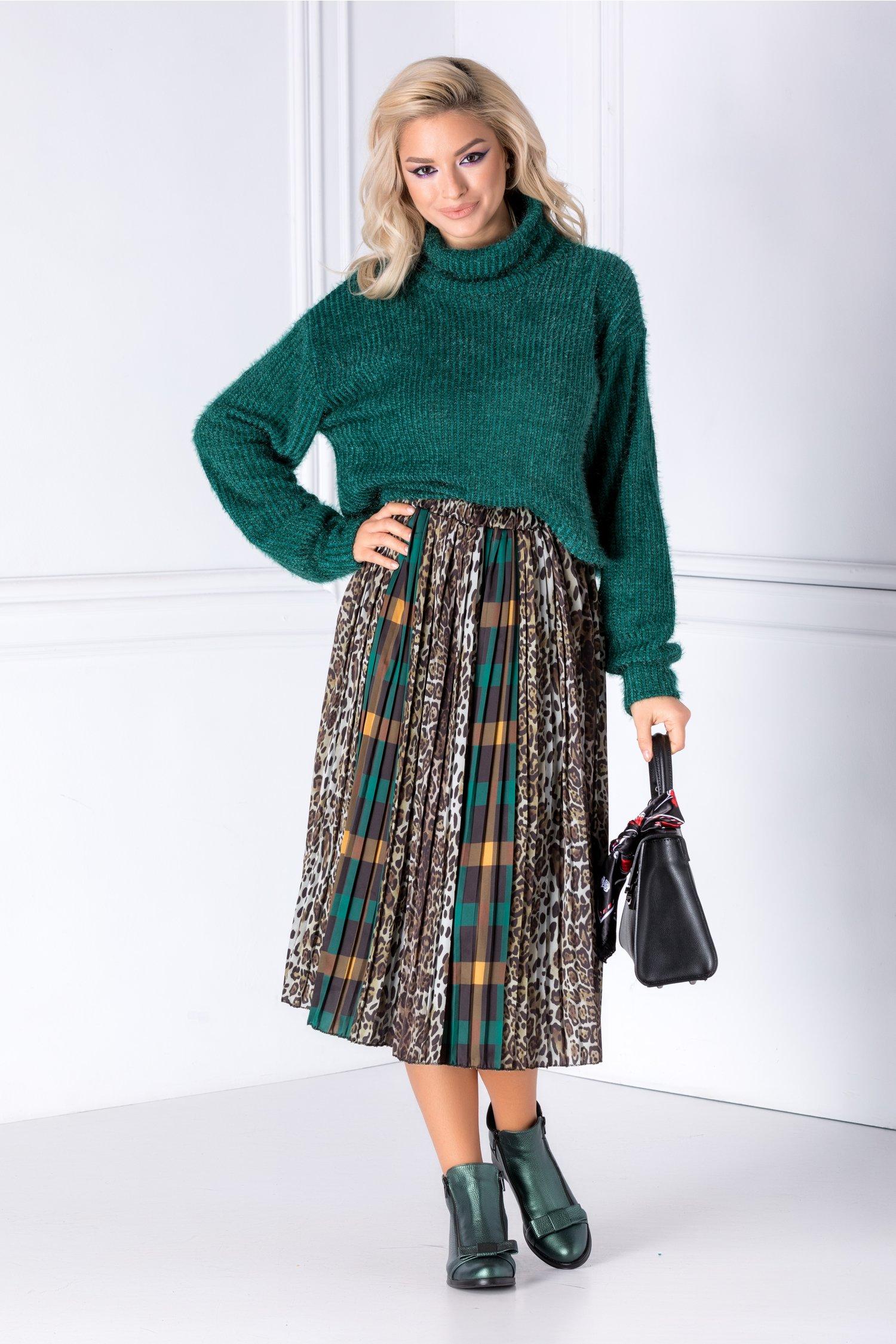 Bluza verde din tricot catifelat cu fir stralucitor