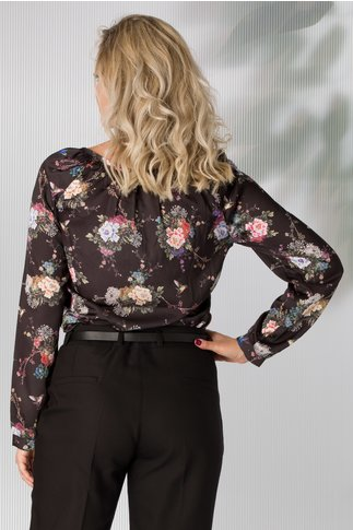 Bluza Veronica neagra cu imprimeu floral pastelat