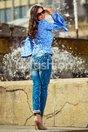 Bluza Vio Albastra cu Maneci Evazate