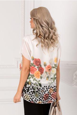 Bluza Vivi alba cu trandafiri colorati