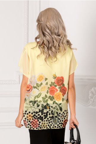 Bluza Vivi galbena cu trandafiri colorati