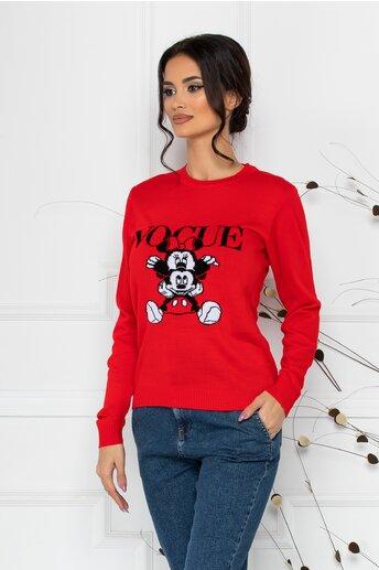 Bluza Vogue rosie cu imprimeu Disney