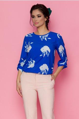 Bluza Volla albastra cu imprimeu floral