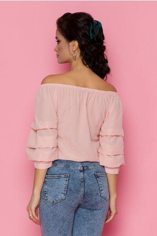 Bluza Volty roz cu maneci trei sferturi bufante si elastic la baza gatului