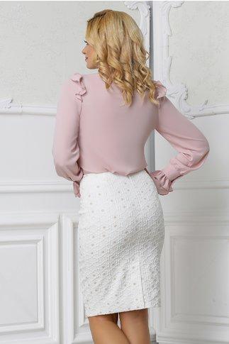 Bluza Xara roz praf din voal cu volane la manseta
