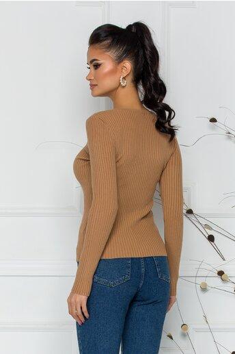 Bluza Xiomara maro din tricot cu textura reiata si nasturei