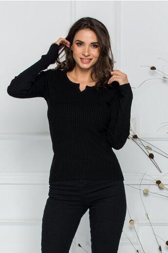 Bluza Xiomara neagra din tricot cu textura reiata si nasturei