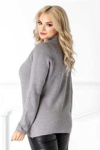 Bluza Yasmine gri cu perlute la guler