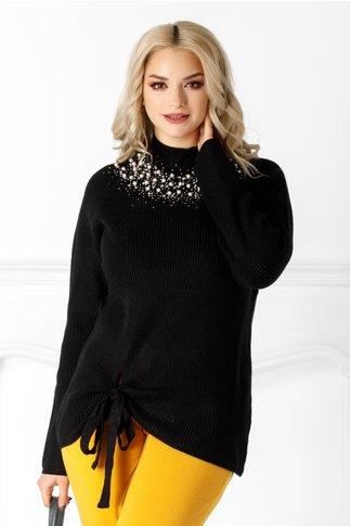 Bluza Yasmine neagra cu perlute la guler