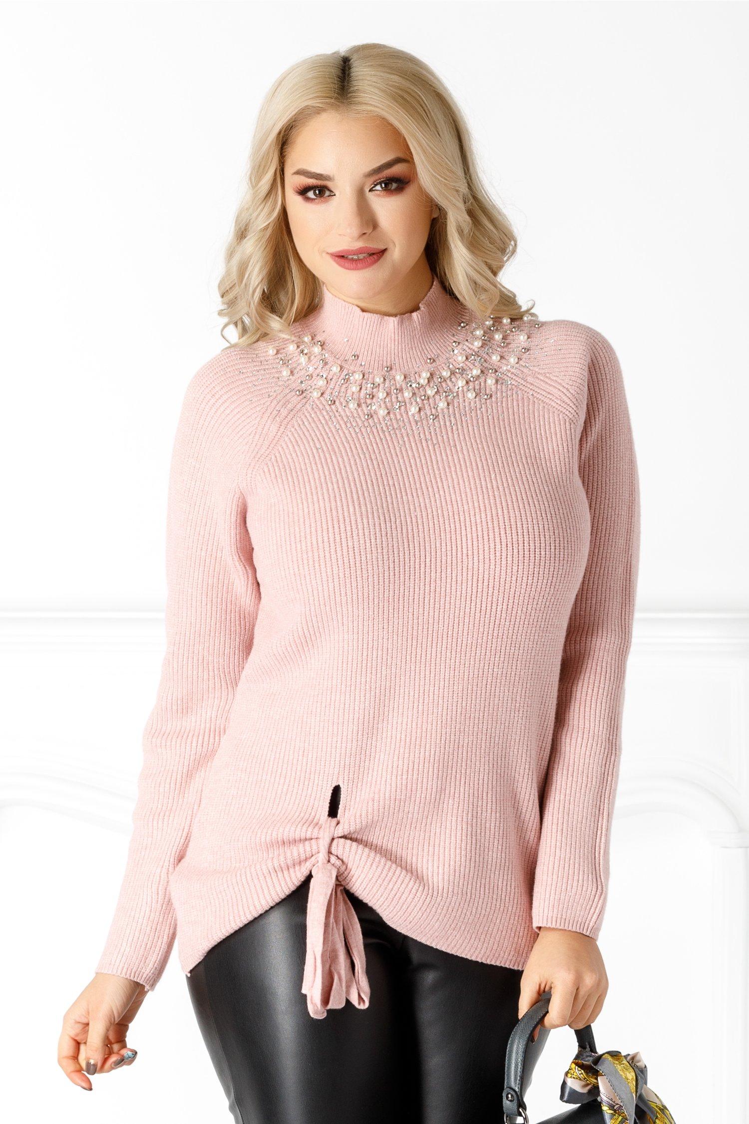 Bluza Yasmine roz cu perlute la guler